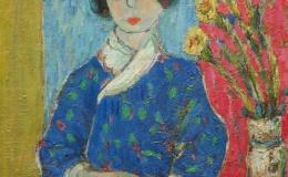 Wójcik Henryk - Portret kobiety w kwiecistej sukni